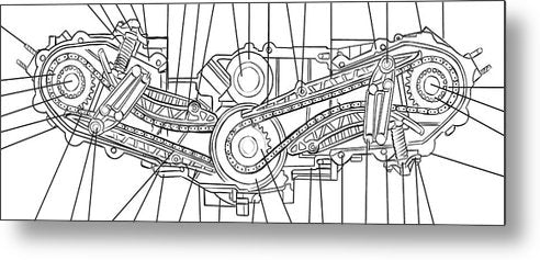 Engine Diagram Black and White - Metal Print from Wallasso - The Wall Art Superstore