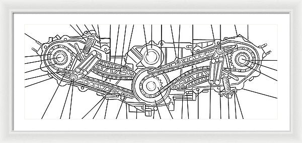 Engine Diagram Black and White - Framed Print from Wallasso - The Wall Art Superstore