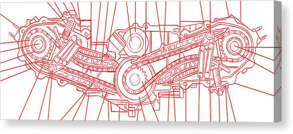 Engine Diagram Red and White - Canvas Print from Wallasso - The Wall Art Superstore