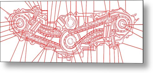 Engine Diagram Red and White - Metal Print from Wallasso - The Wall Art Superstore