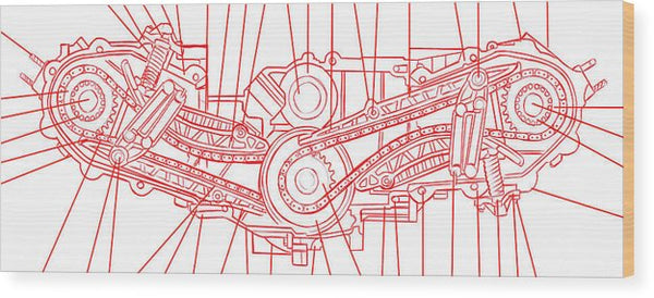 Engine Diagram Red and White - Wood Print from Wallasso - The Wall Art Superstore