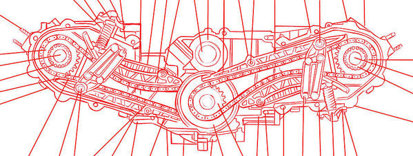 Engine Diagram Red and White - Art Print from Wallasso - The Wall Art Superstore