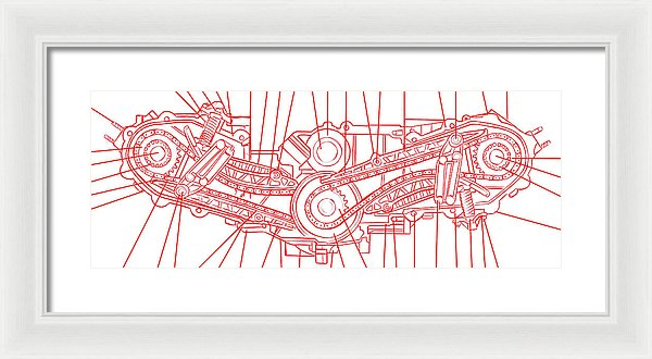 Engine Diagram Red and White - Framed Print from Wallasso - The Wall Art Superstore