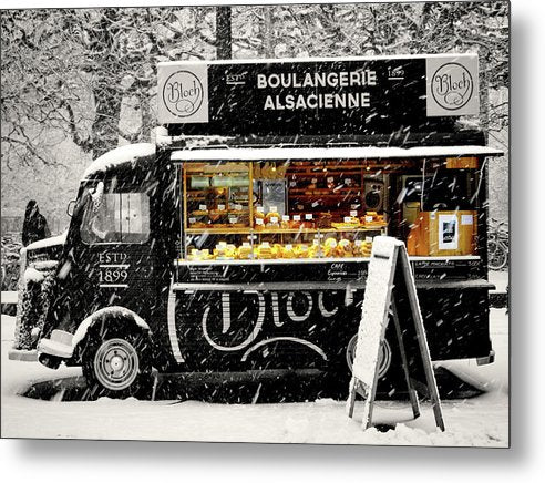 European Boulangerie Cafe Food Truck In Snow, Pop of Color - Metal Print from Wallasso - The Wall Art Superstore