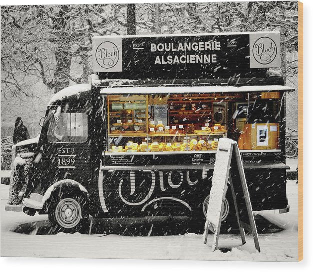 European Boulangerie Cafe Food Truck In Snow, Pop of Color - Wood Print from Wallasso - The Wall Art Superstore