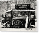 European Boulangerie Cafe Food Truck In Snow, Sepia - Canvas Print from Wallasso - The Wall Art Superstore