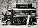 European Boulangerie Cafe Food Truck In Snow, Sepia - Art Print from Wallasso - The Wall Art Superstore