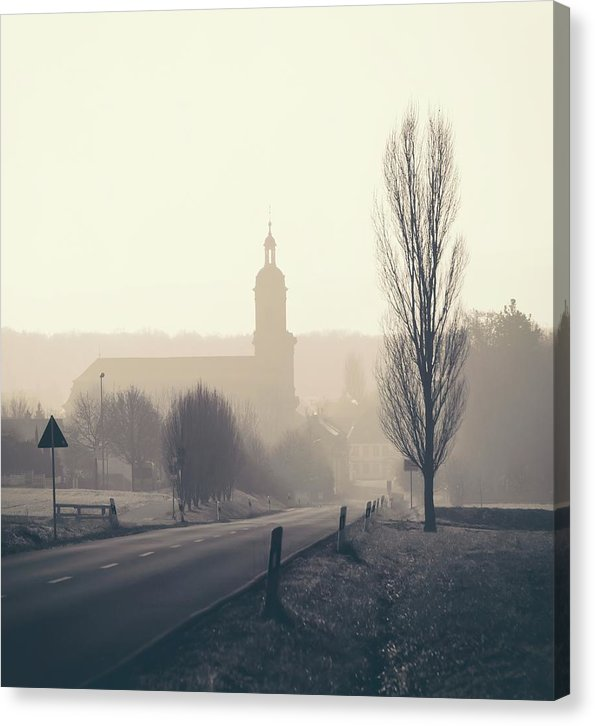 European Church In Fog - Canvas Print from Wallasso - The Wall Art Superstore