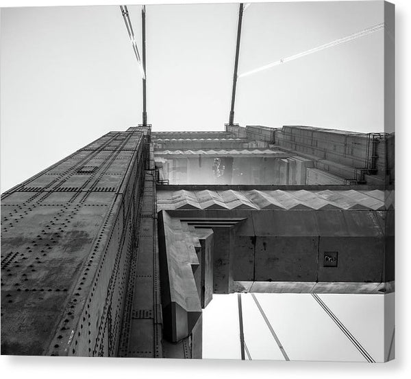Extreme Angle of Golden Gate Bridge, Black and White - Canvas Print from Wallasso - The Wall Art Superstore
