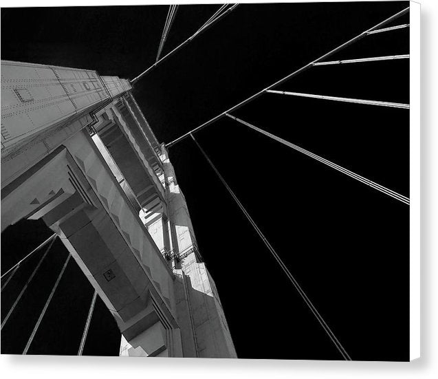 Extreme Upward Angle of Golden Gate Bridge, San Francisco - Canvas Print from Wallasso - The Wall Art Superstore
