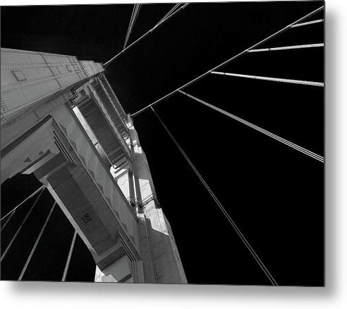 Extreme Upward Angle of Golden Gate Bridge, San Francisco - Metal Print from Wallasso - The Wall Art Superstore