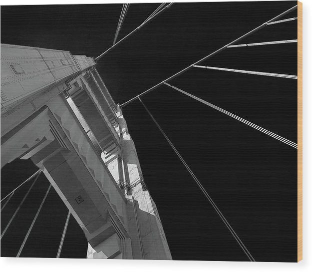 Extreme Upward Angle of Golden Gate Bridge, San Francisco - Wood Print from Wallasso - The Wall Art Superstore
