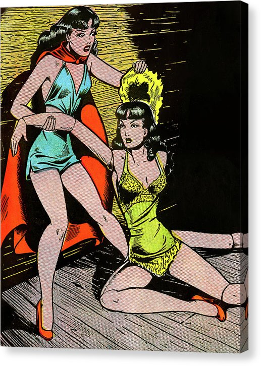 Female Superhero With Mannequin, Vintage Comic Book - Canvas Print from Wallasso - The Wall Art Superstore