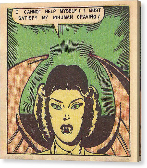 Female Vampire Inhuman Craving, Vintage Comic Book - Canvas Print from Wallasso - The Wall Art Superstore