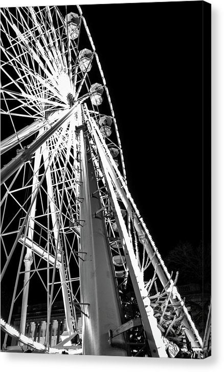 Ferris Wheel At Night, Black and White - Canvas Print from Wallasso - The Wall Art Superstore