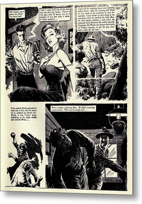 Fighting Miners, Vintage Comic Book - Metal Print from Wallasso - The Wall Art Superstore
