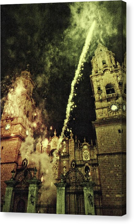 Fireworks Outside Ancient Church - Canvas Print from Wallasso - The Wall Art Superstore