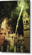Fireworks Outside Ancient Church - Metal Print from Wallasso - The Wall Art Superstore