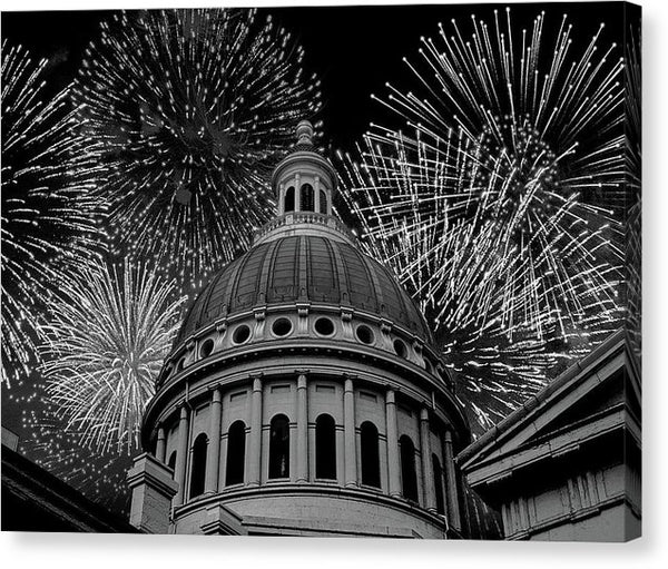 Fireworks Over Capitol Building - Canvas Print from Wallasso - The Wall Art Superstore
