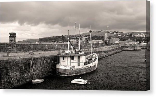 Fishing Boat Docked To Stone Pier - Canvas Print from Wallasso - The Wall Art Superstore