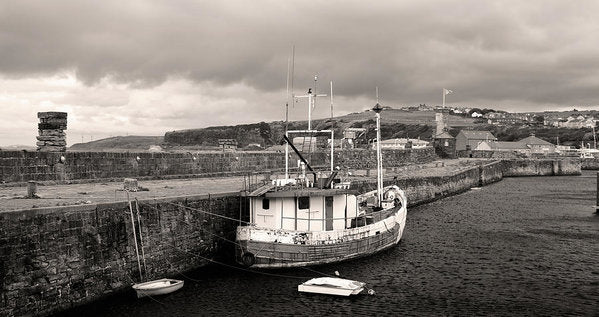 Fishing Boat Docked To Stone Pier - Art Print from Wallasso - The Wall Art Superstore