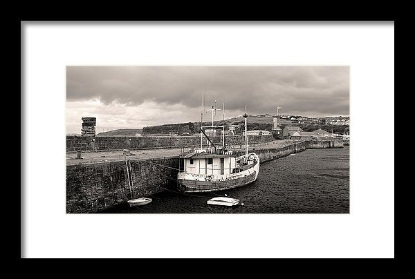 Fishing Boat Docked To Stone Pier - Framed Print from Wallasso - The Wall Art Superstore