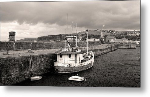 Fishing Boat Docked To Stone Pier - Metal Print from Wallasso - The Wall Art Superstore