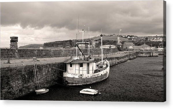 Fishing Boat Docked To Stone Pier - Acrylic Print from Wallasso - The Wall Art Superstore