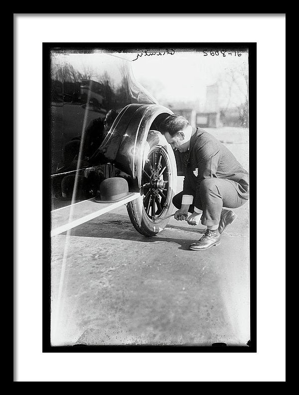 Fixing Flat Tire On Vintage Car - Framed Print from Wallasso - The Wall Art Superstore