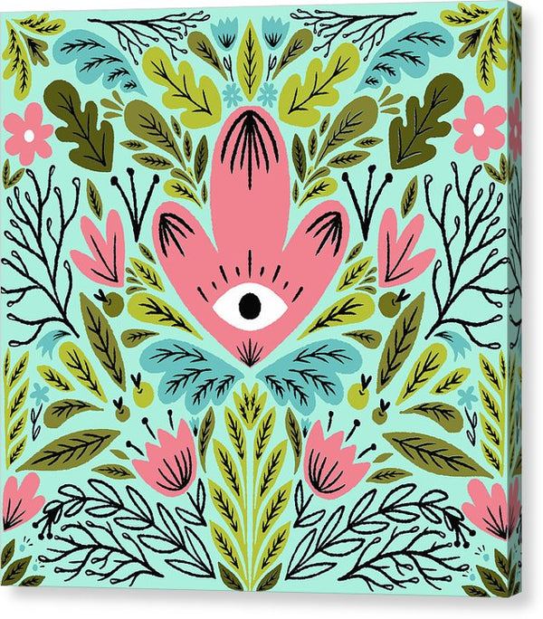 Floral Boho All Seeing Eye - Canvas Print from Wallasso - The Wall Art Superstore