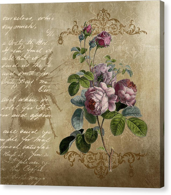 Floral Rose Decoupage Design - Canvas Print from Wallasso - The Wall Art Superstore