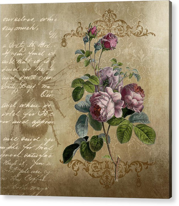 Floral Rose Decoupage Design - Acrylic Print from Wallasso - The Wall Art Superstore