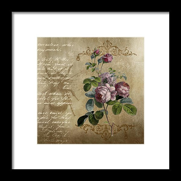 Floral Rose Decoupage Design - Framed Print from Wallasso - The Wall Art Superstore