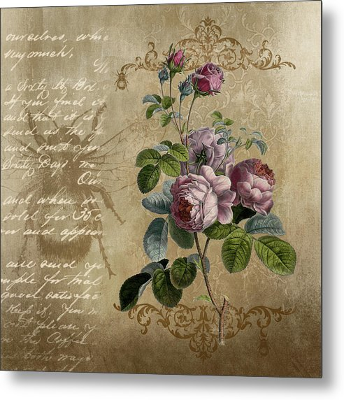Floral Rose Decoupage Design - Metal Print from Wallasso - The Wall Art Superstore