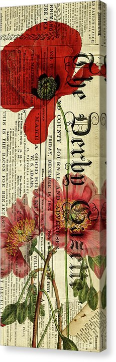Flower And Newspaper Decoupage - Canvas Print from Wallasso - The Wall Art Superstore
