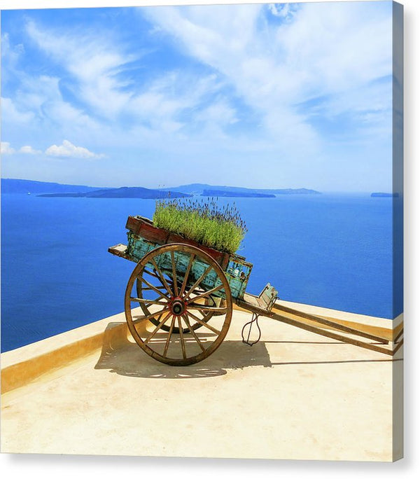 Flower Cart In Santorini Greece - Canvas Print from Wallasso - The Wall Art Superstore