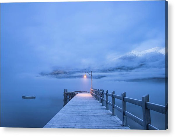 Foggy Mountain Lake With Blue Boardwalk and Single Lamp Post - Acrylic Print from Wallasso - The Wall Art Superstore