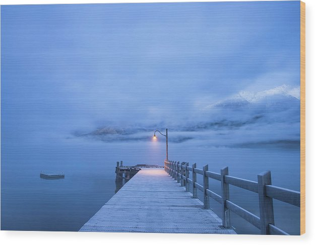 Foggy Mountain Lake With Blue Boardwalk and Single Lamp Post - Wood Print from Wallasso - The Wall Art Superstore