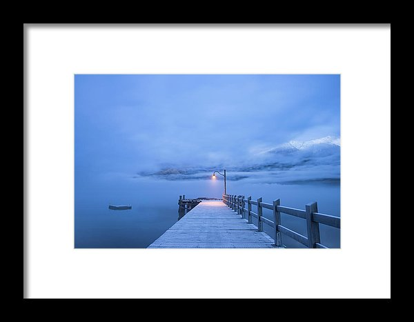 Foggy Mountain Lake With Blue Boardwalk and Single Lamp Post - Framed Print from Wallasso - The Wall Art Superstore
