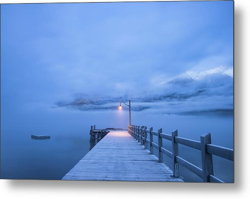 Foggy Mountain Lake With Blue Boardwalk and Single Lamp Post - Metal Print from Wallasso - The Wall Art Superstore
