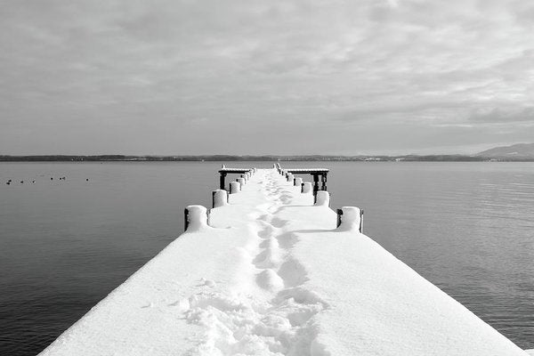 Footsteps On Snowy Dock - Art Print from Wallasso - The Wall Art Superstore