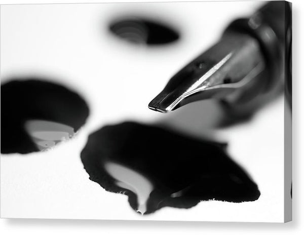 Fountain Pen With Ink Drops - Canvas Print from Wallasso - The Wall Art Superstore