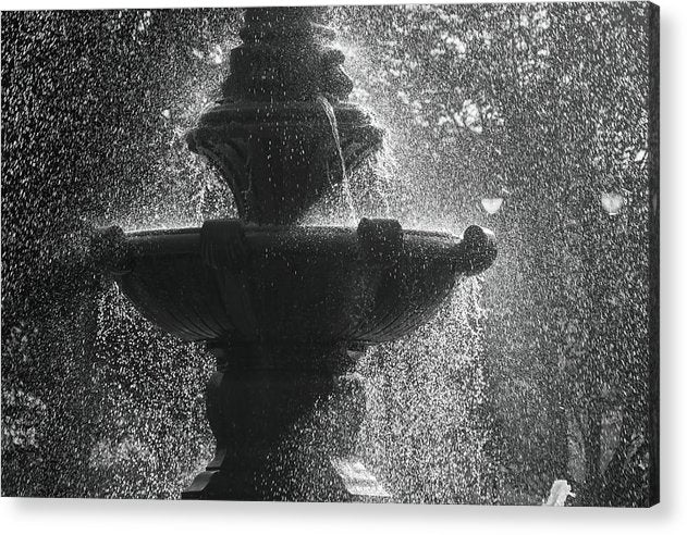 Fountain With Water Drops - Acrylic Print from Wallasso - The Wall Art Superstore