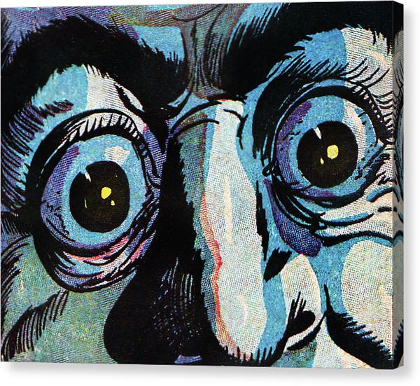 Frightened Eyes Closeup, Vintage Comic Book - Canvas Print from Wallasso - The Wall Art Superstore