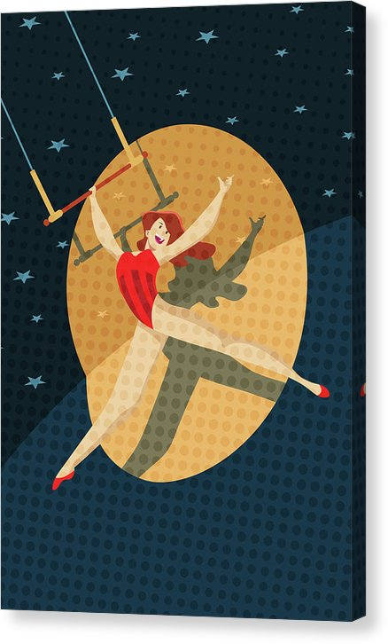 Fun Circus Trapeze Artist Cartoon Design - Canvas Print from Wallasso - The Wall Art Superstore