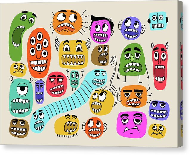Cute Monster Face Doodles For Kids - Canvas Print from Wallasso - The Wall Art Superstore