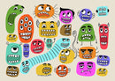 Cute Monster Face Doodles For Kids - Art Print from Wallasso - The Wall Art Superstore