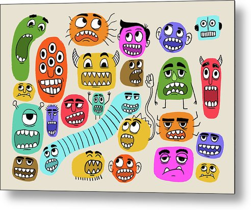 Cute Monster Face Doodles For Kids - Metal Print from Wallasso - The Wall Art Superstore