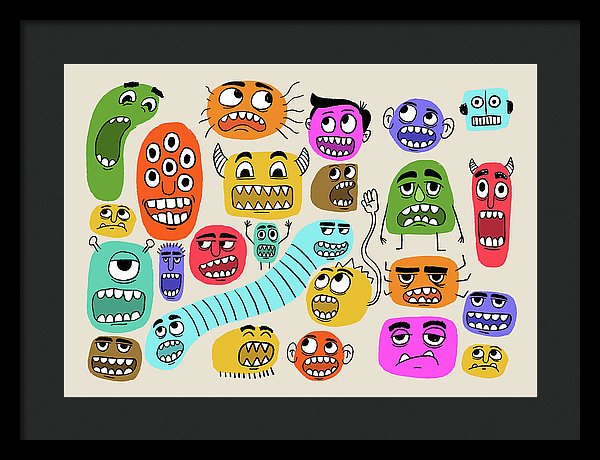 Cute Monster Face Doodles For Kids - Framed Print from Wallasso - The Wall Art Superstore