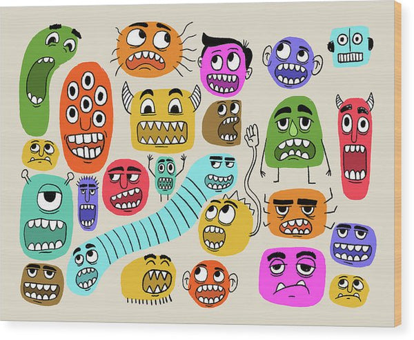 Cute Monster Face Doodles For Kids - Wood Print from Wallasso - The Wall Art Superstore